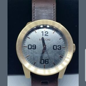 NIXON Mens Corporal rose gold Leather strap